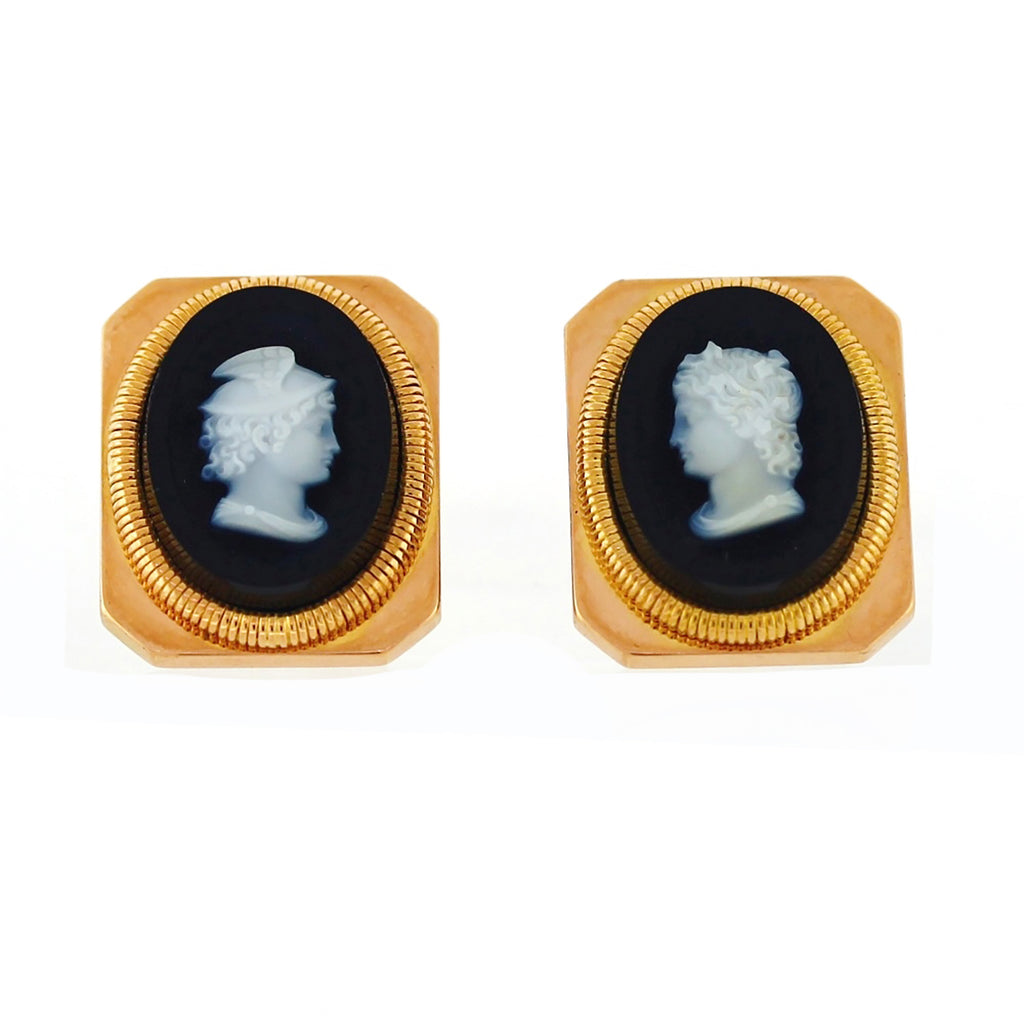 Vintage 18K Rose Gold Square Black Onyx White Warrior Cameo Design Cufflinks