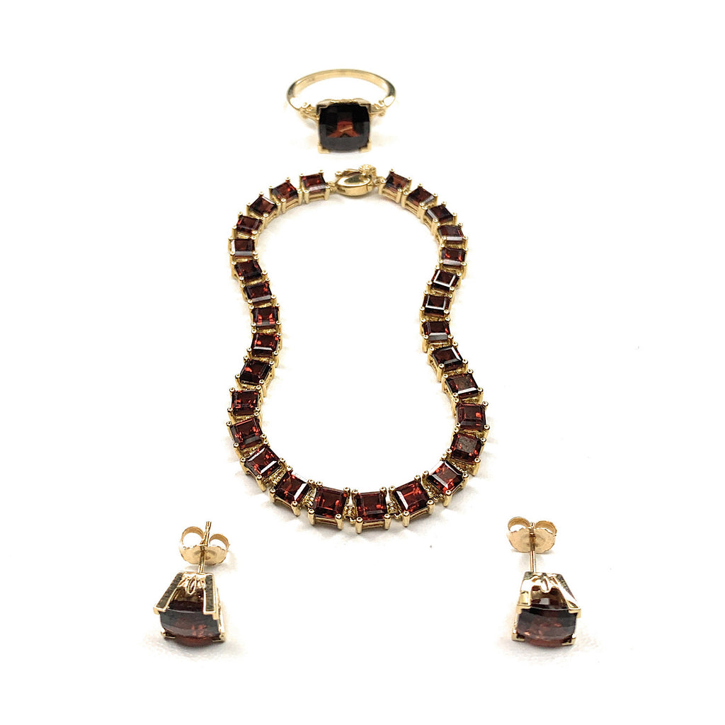 14K Yellow Gold & Garnet Tennis Bracelet, Ring & Earrings Set