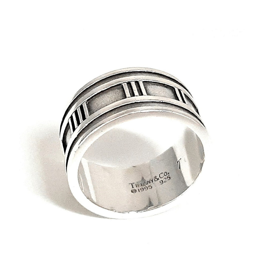 Tiffany & Co. Mens Atlas Roman Numeral Wide Band Ring sz 11 1/2""