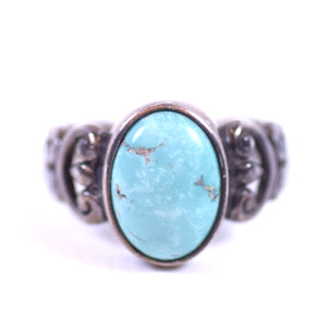 Southwest Native American Style Sterling Silver and Oval Turquoise Ladies Ring