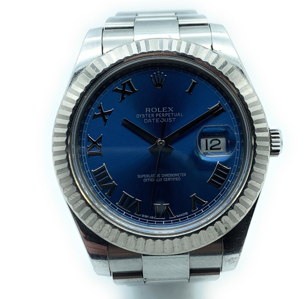 ROLEX 18K & Stainless Steel DateJust II - 116334  Fluted Bezel Mens Watch