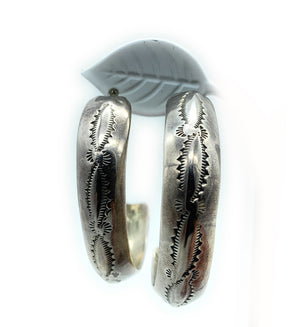 Vintage 1970's Navajo Sterling Silver Repoussé Stamped Half Hoop Earrings
