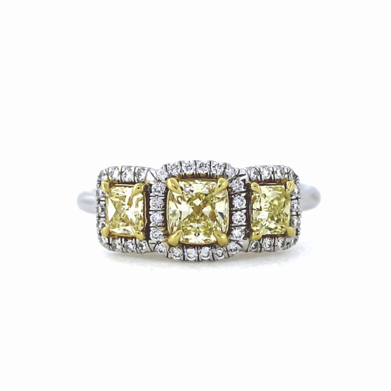 VINTAGE 18K Fancy Yellow Diamond Trilogy Engagement Ring - Sz. 6¼