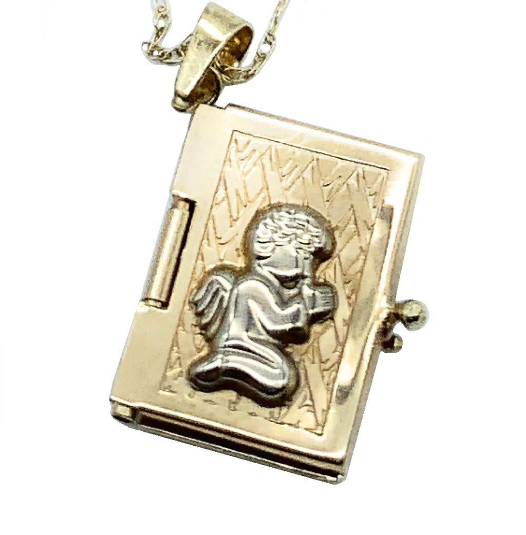Vintage JCM 10K Two-Tone Gold Angel Book Locket Pendant Charm Necklace