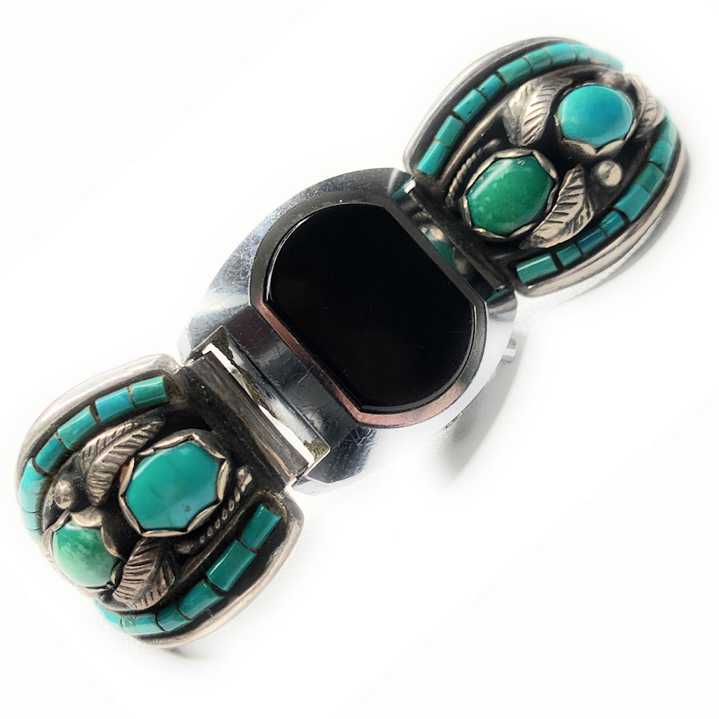Vintage Navajo Sterling Silver Turquoise Watch Tips