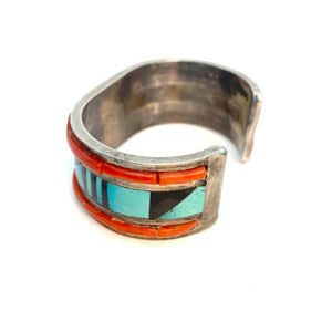 Vintage Navajo Sterling Silver Multi Stone Inlay Wide Cuff Bracelet - Signed Sz 6.5
