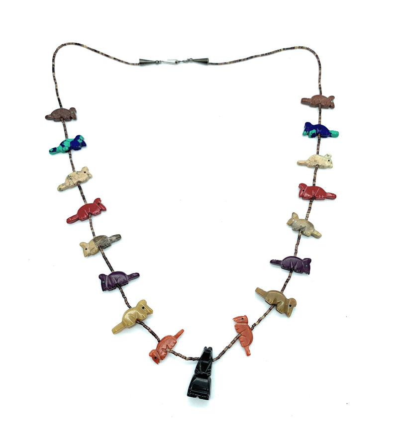 Vintage Zuni Multi-Stone Heishi Bead Carved Fetish Necklace