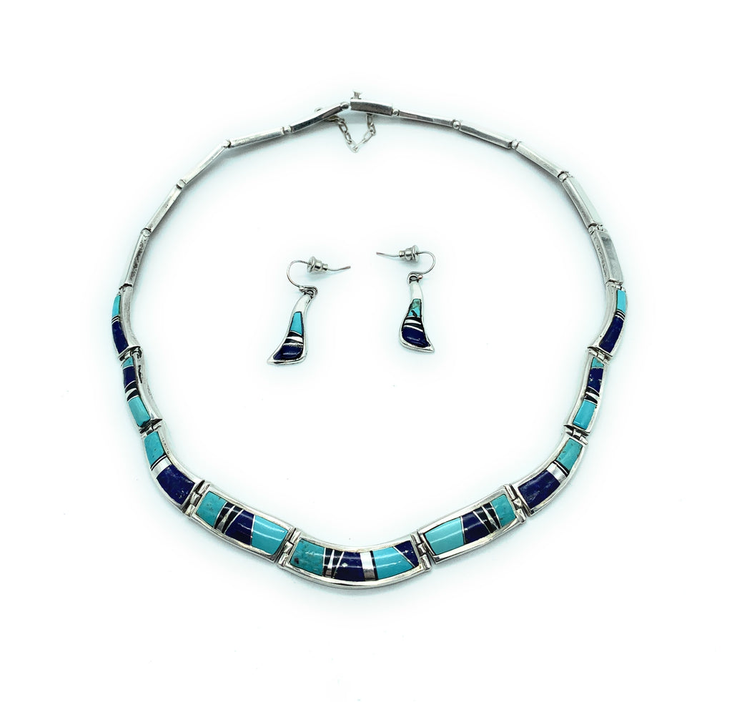 Calvin Begay Vintage Navajo Sterling Silver Multi-stone Inlay Necklace & Earrings