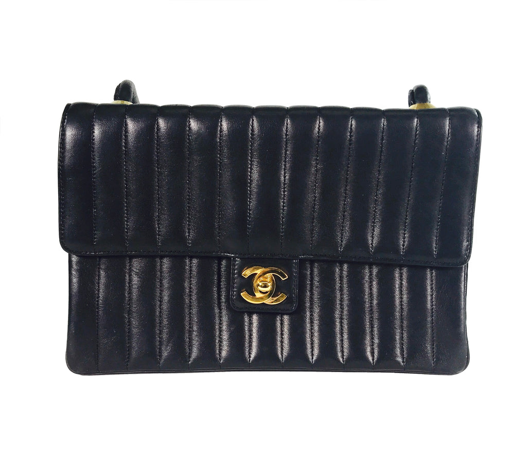 Chanel Vintage Black Vertical Stitch Shoulder Bag