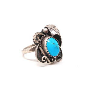 Sterling Silver Petite Shadowbox Sleeping Beauty Turquoise Ring sz 7 1/4""