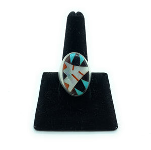 Vintage 1960's Zuni Sterling Silver Multi-Stone Inlay Men's Ring - Sz. 10.5