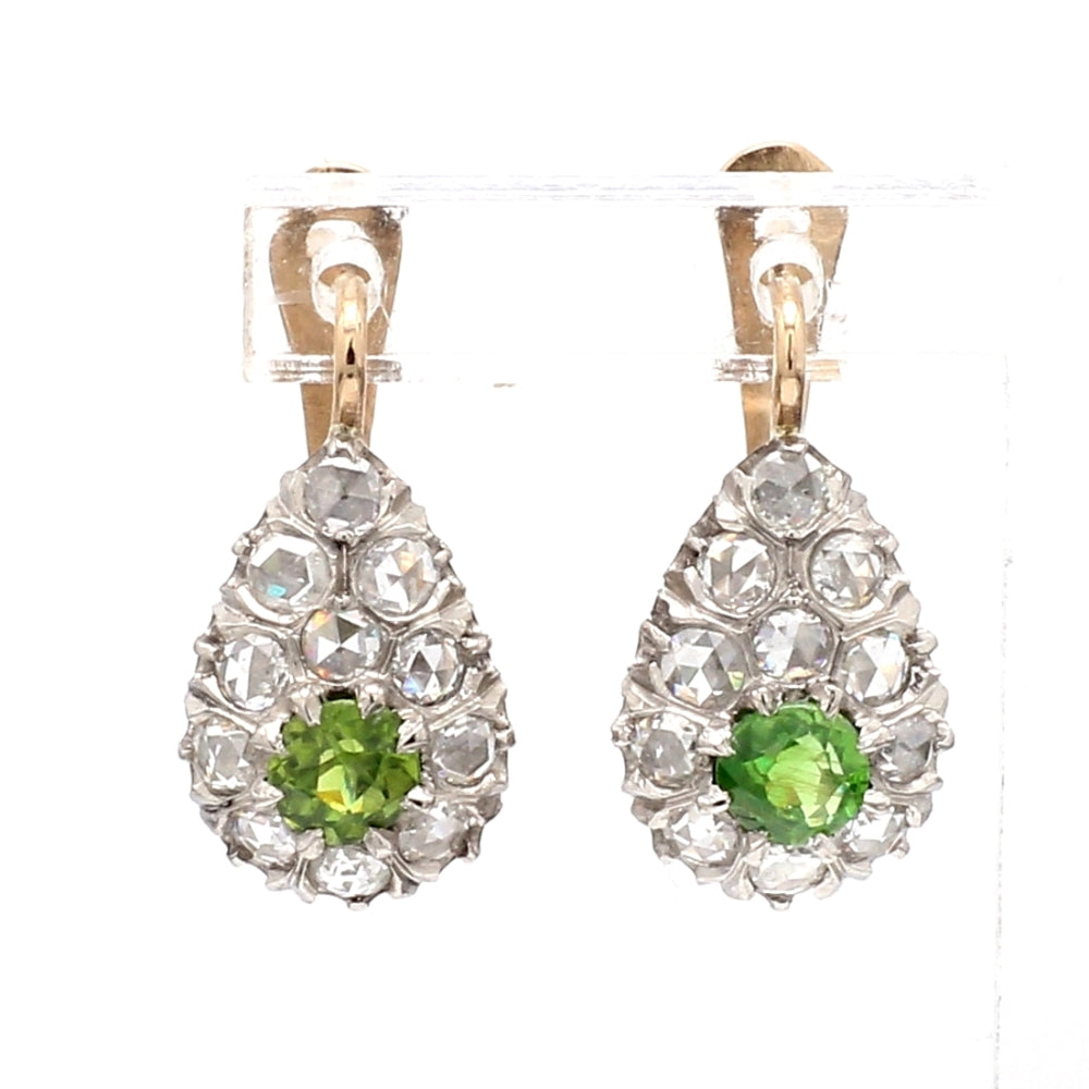 Platinum & 14K YG Demantoid Garnet & Diamond Drop Earrings
