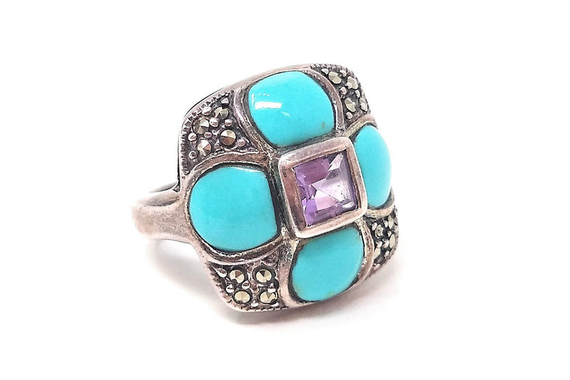 Amethyst and Marcasite Flower Ring size 5 3/4