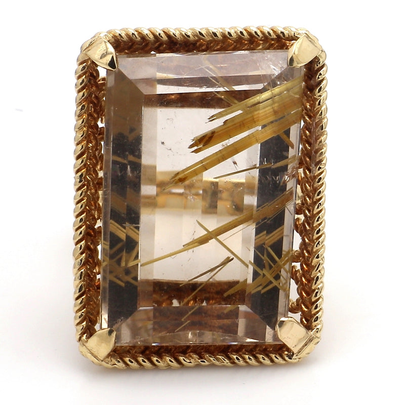 14K Yellow Gold Emerald Cut Rutilated Quartz Split Shank Ring - Sz. 6.75