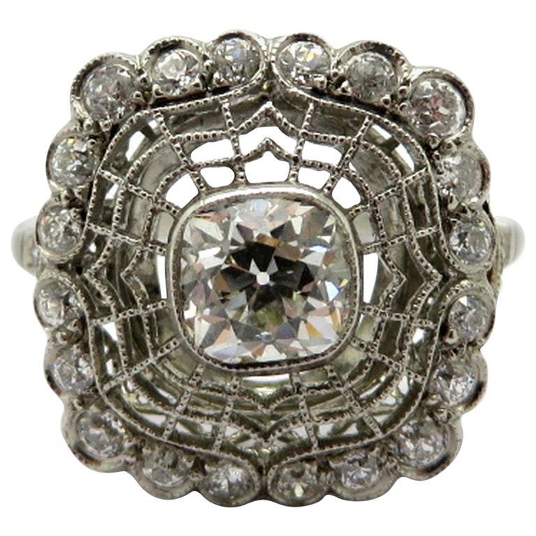 Platinum Diamond Edwardian Style Engagement Ring, Size 7.5