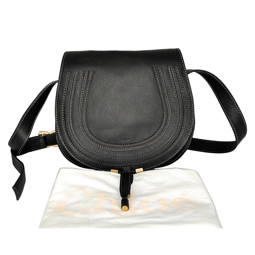 Chloe Medium Marcie Black Calf Leather Crossbody Bag