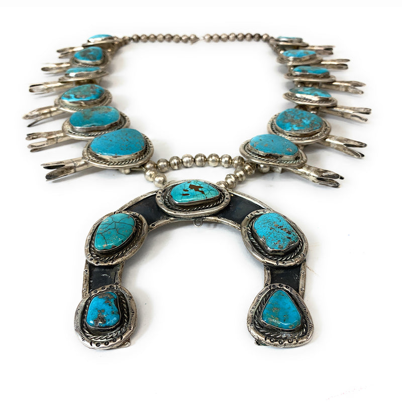 Rare! Heavy Vintage Navajo Sterling Silver Dry Creek Turquoise Squash Blossom Necklace