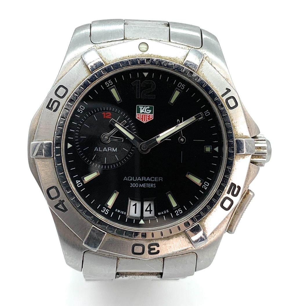 TAG Heuer Aquaracer 300M Alarm Steel Black Dial 39mm WAF111Z - Men's Watch