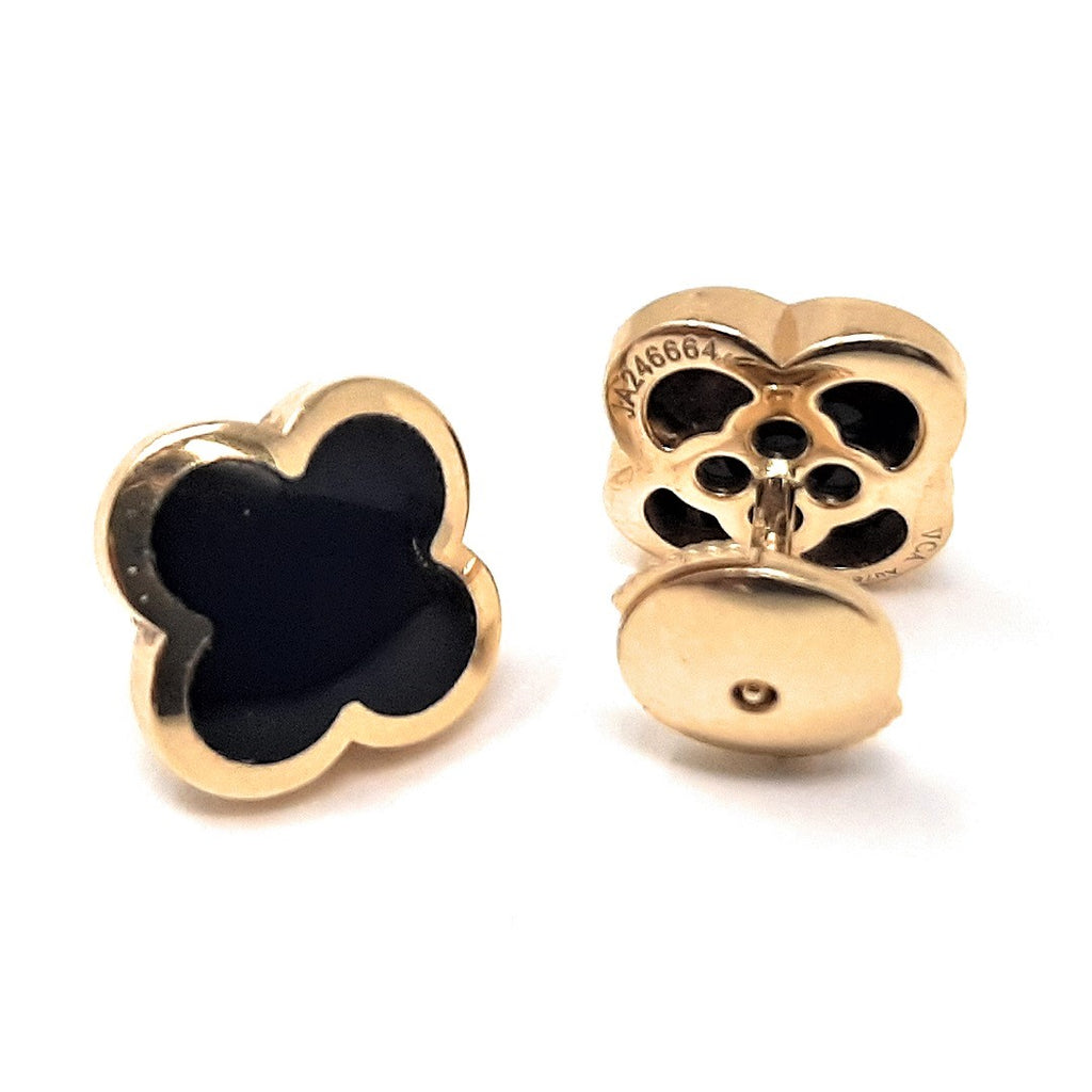Van Cleef & Arpels Pure Alhambra Onyx and 18K Gold Earring Studs