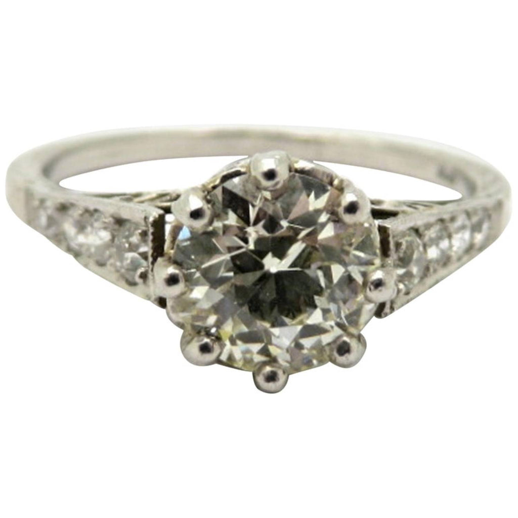 Platinum 1.00 Carat Old European Cut Diamond Antique Engagement Ring, Size 6.75