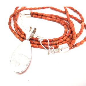 Red Coral Multi-Strand Necklace and Pendant