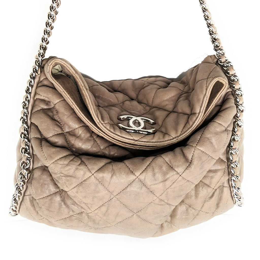 Chanel Washed Lambskin Chain Around Hobo Grey