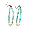 Vintage Santo Domingo Pueblo Jacla Turquoise Heishi Bead Dangle Earrings