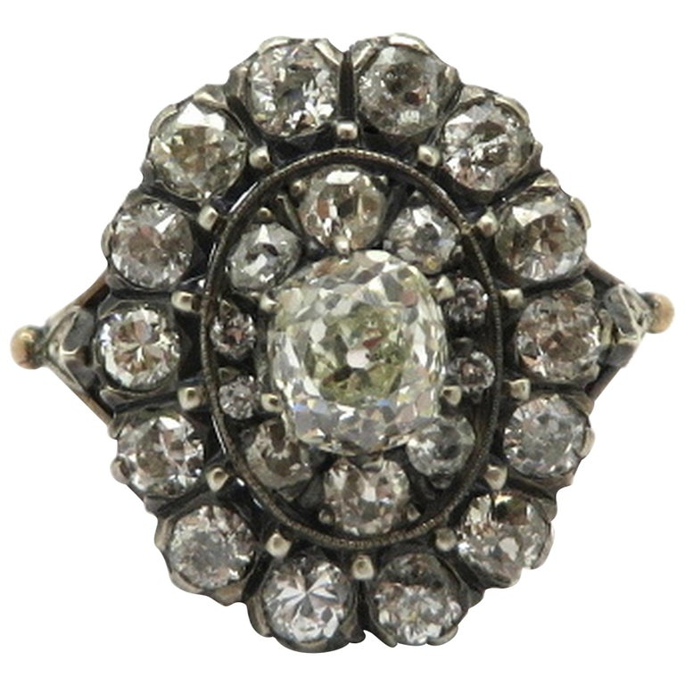 18k and Sterling Silver Edwardian Style Old Mine Cut Diamond Halo Ring, Size 7.75