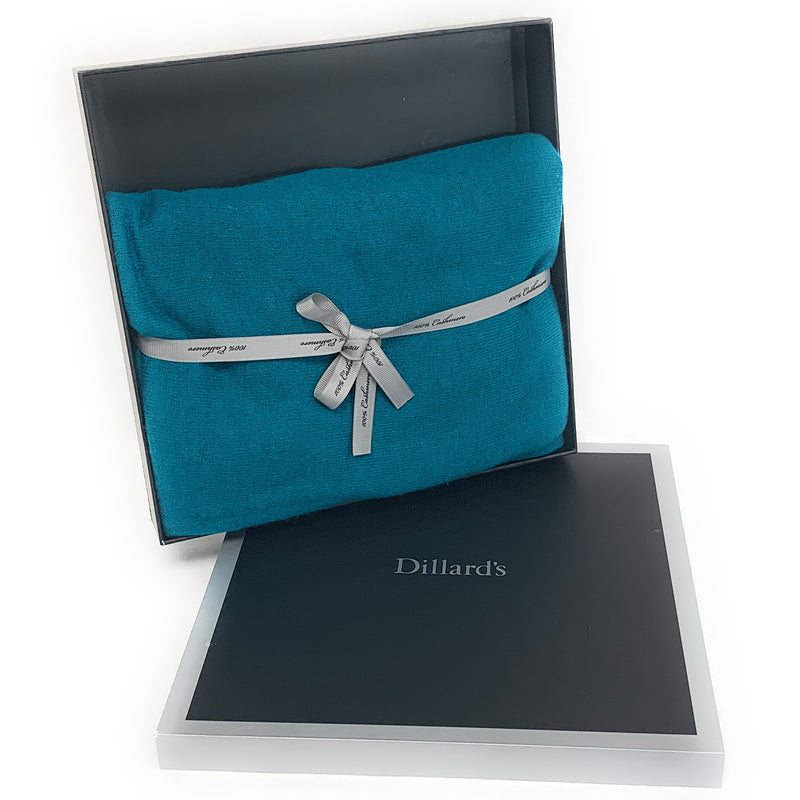 DILLARD's 100% CASHMERE Scarf/Wrap TURQUOISE - NEW in Box