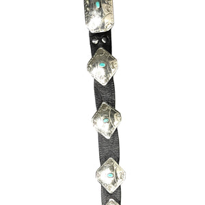 Navajo Sterling Silver Turquoise Concho Leather Belt