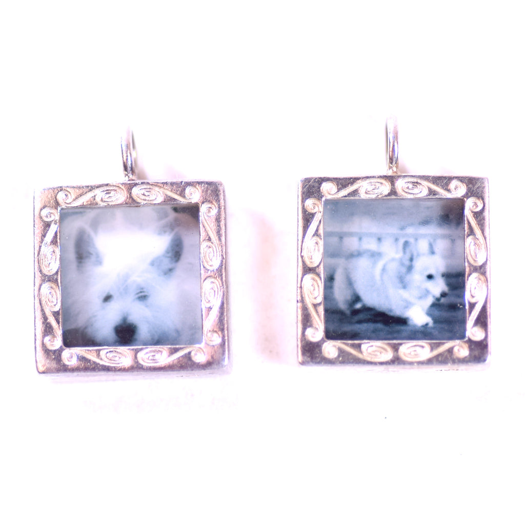 "Sterling Silver Pendant Interchangeable Photos Frames by ""Brag"" Set of 2"