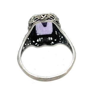 Vintage Sterling Silver 5.50ct Synthetic Amethyst Ring  - Sz. 10.25