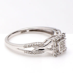10K White Gold & Multi-Shape Diamond 0.40ctw Split Shank Halo Ring Sz. 6.75