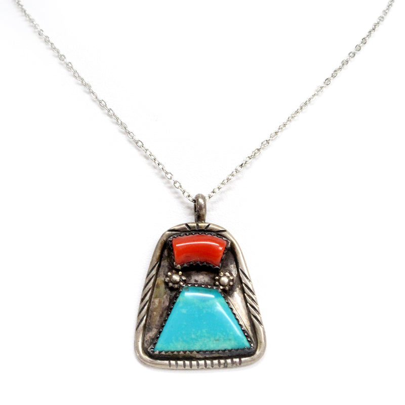 Sterling Silver Native American Turquoise and Coral Necklace