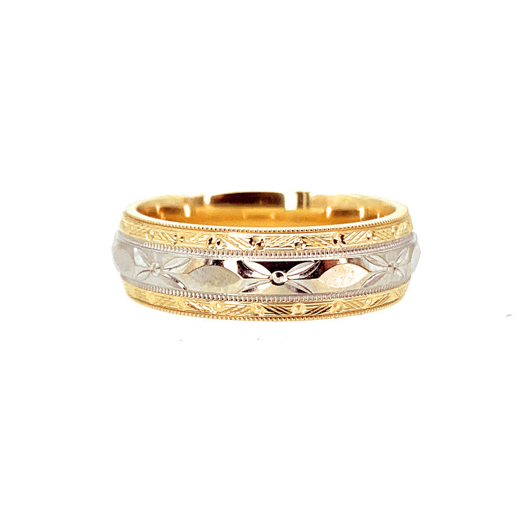 14K Two-Tone Gold Men's Bright Cut Wedding Band - Sz.  8.75