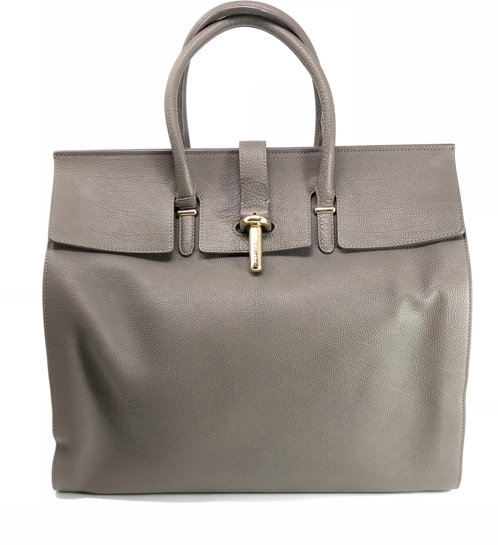 Balenciaga Pebbled Leather 'Tube Round' Large Tote Bag