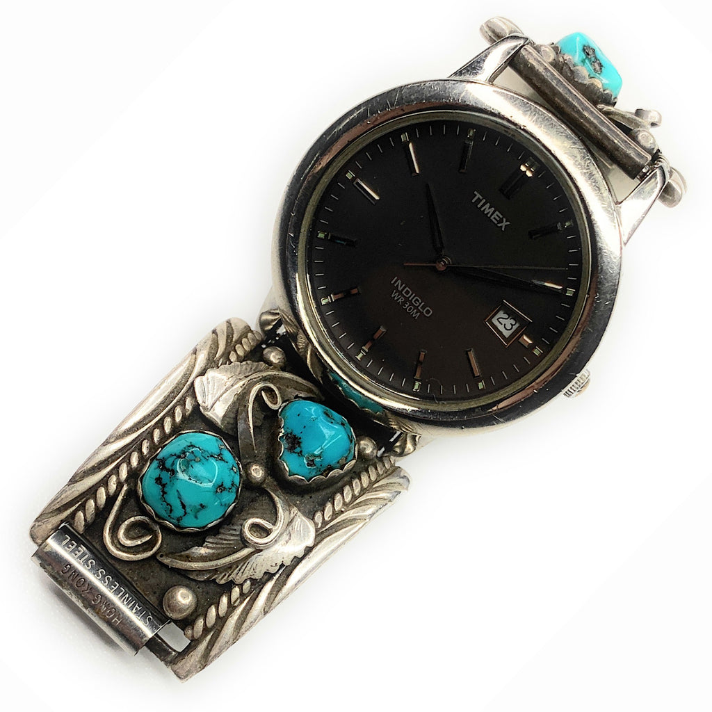 Vintage Navajo Sterling Silver Kingman Turquoise Watch Tips