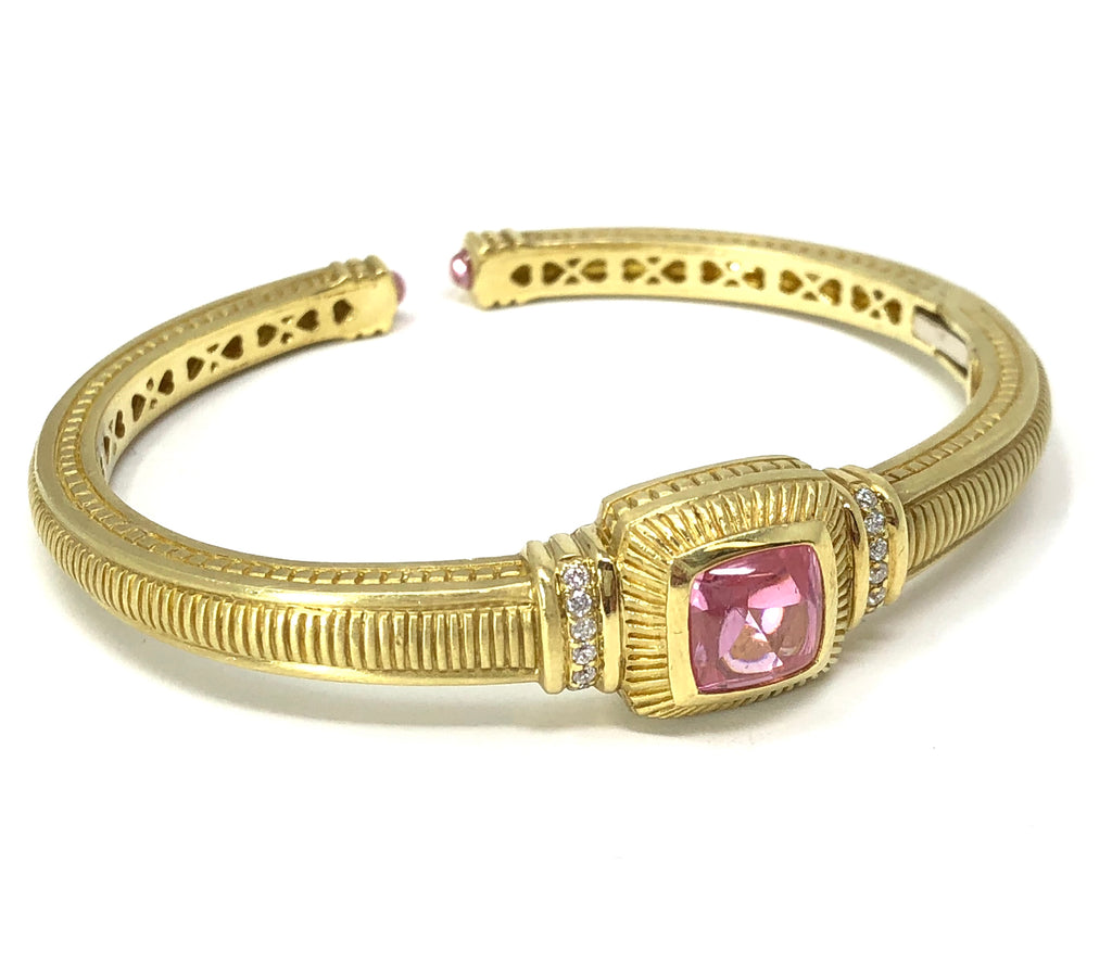 Judith Ripka 0.16ctw Diamond Pink Gemstone 18k Yellow Gold Cuff Bracelet