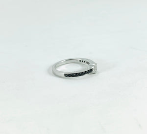 0.42ctw Enhanced Black and White Diamonds in 18K White Gold Ring