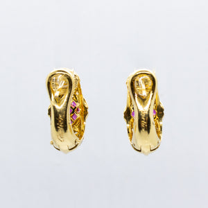 Vintage Cartier 18K Yellow Gold Ruby & Diamond Earrings