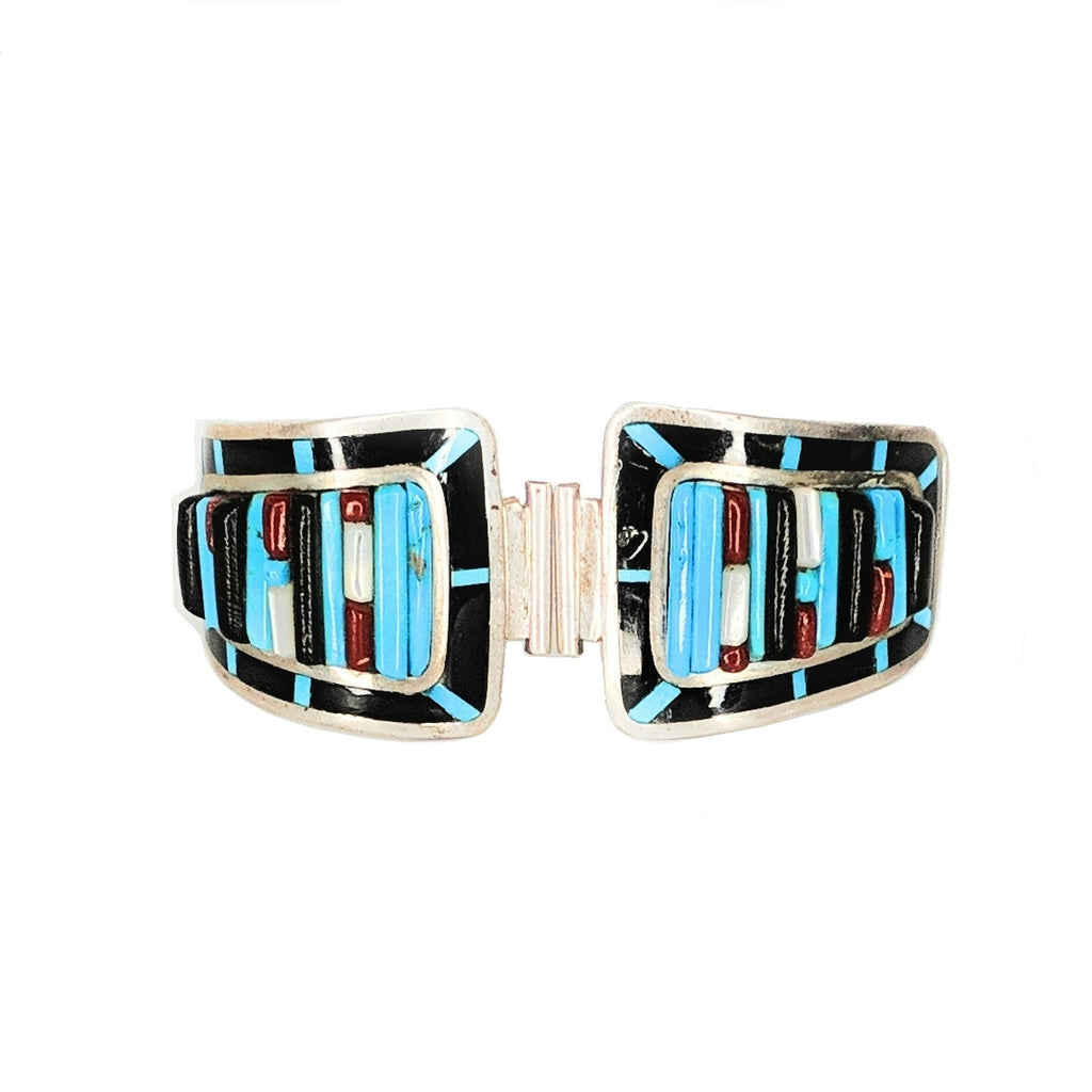 Signed Wayne Paquin Zuni Sterling Multi Stone 3D Inlay Watch End Tips