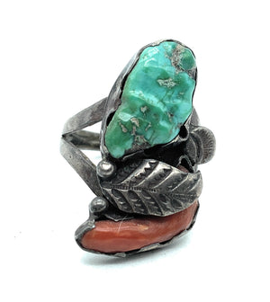 Vintage 1950's Navajo Split Shank Sterling Silver Coral & Turquoise Ring