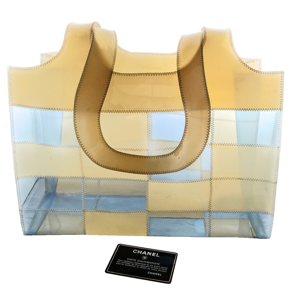 Chanel Vintage Multicolor PVC Transparent Stitched Patchwork Tote
