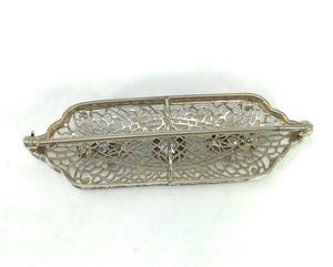 0.45ctw Victorian Diamond Brooch 14k White Gold Floral Filigree Antique Pin