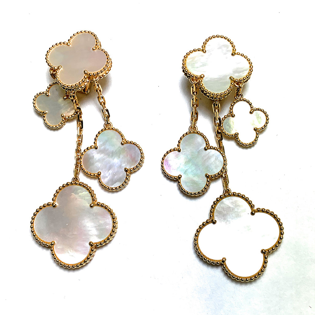 "Van Cleef & Arpels 18k Gold & Mother-of-Pearl ""Magic Alhambra"" Chandelier Earrings"