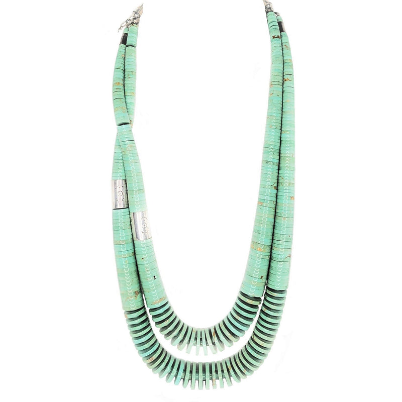 Navajo Turquoise Disc Sterling Barrel Beaded 2-Strand Necklace