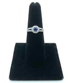 18K White Gold, Kashmere Blue Sapphire & Diamond Split Shank Halo Ring - Sz. 6.5