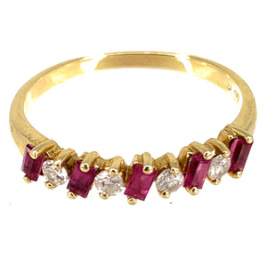 14K Yellow Gold Semi Eternity .35ctw Ruby Diamond Ring- Sz. 7¾
