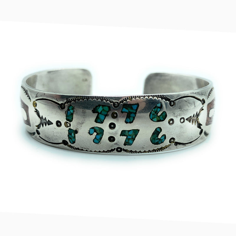 Vintage 1960's Zuni Sterling Silver Turquoise & Coral Micro Inlay Cuff Bracelet