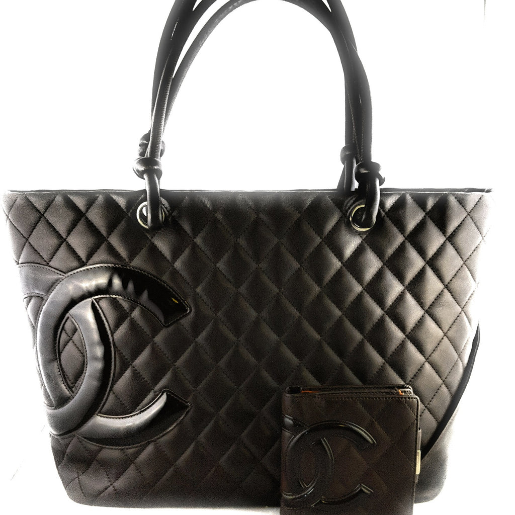 Chanel Chocolate Quilted Calfskin Cambon Ligne Tote & Wallet Set